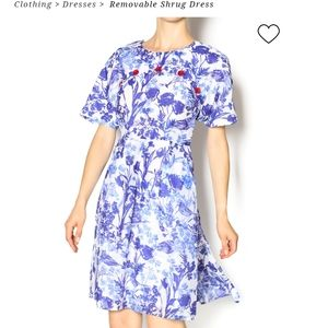 Alice's pig NWT blue white floral retro dress